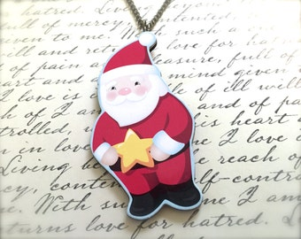 Santa Claus Necklace. Festive Christmas Jewelry. Holiday. Brass Vintage Style Chain. Wood Jewelry. Cute Whimsical. Under 15 Gifts.