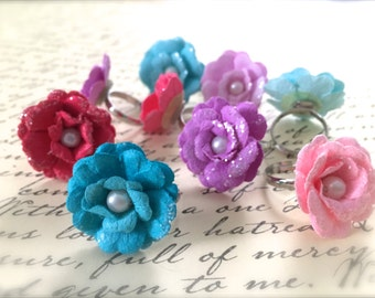 Romantic Flower Ring. Simple. Blue. Pink. Purple. Adjustable Silver Band. Summer. Flower Ring. Woodland. Spring. 3 Dollars. Garden. Boho.