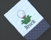 Personalized, appliqued burp cloth; golf burp cloth; golf ball burpie