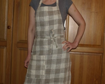 SALE Full Pure Linen Apron Natural Grey And Ivory Checked With Pocket