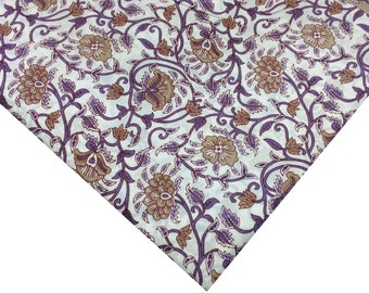 Soft Cotton Dress Fabric - Block Printed Soft Cotton Fabric -  Indian Cotton Fabric in Lavender, White and Olive Green - Border Fabric