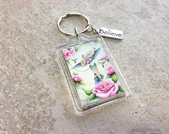 Girls Pink Fairy Keychain with Imagination Quote Keyring, Inspirational Believe Charm - Sarah Alden