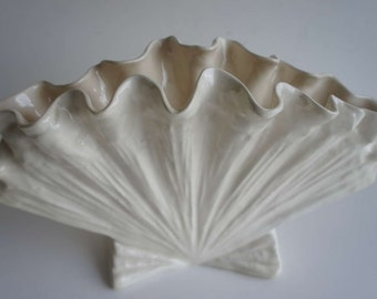 Vintage Pottery White Ceramic Sea Shell Planter Vase