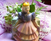 Lavender Lady Figurine, Figurine Planter, Porcelain Planter Lady, Retro Pot, Home Decor, Ruffled Dress, Kathleen Leasure, FromGlenToGlen