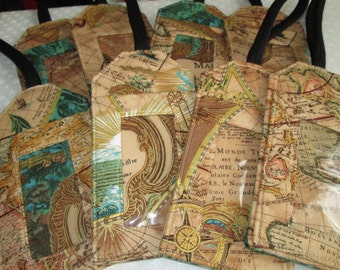 Antique Map Fabric Luggage Tag Gift Card Holder Travel Accessory Destination Wedding Party Favor Graduation Personalized Bag Tags