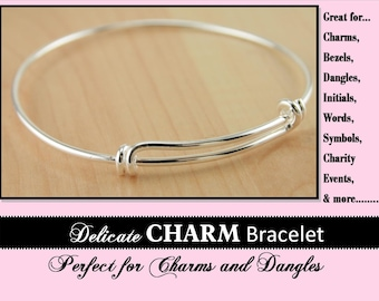 15 Adjustable Charm Holder Bracelet Bangle - Create a Stack Bracelet, Add your own Charms and Dangle Charms.