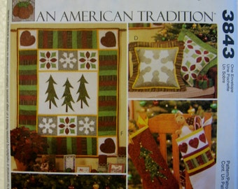 McCalls Crafts American Tradition Christmas Quilt Pillow Stocking Sewing Pattern 3843 Quilting  UC FF Uncut Rustic Quilting