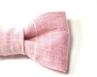 Men boy Striped light pink linen bowtie Kids Clip-On Bow Tie