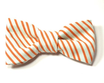 Men boy coral and seafoam striped bowtie Kids Clip-On Bow Tie