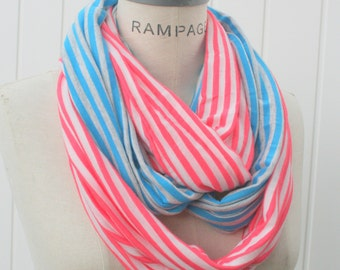 Blue Infinity Scarf, Peach Scarf, Women loop Scarf, Jersey Soft Scarfs, Women Gifts  for mom for her  - By PIYOYO