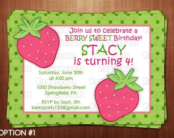 Strawberry Theme Birthday Party Invitation | Pink & Green | Personalized | Printable DIY Digital File