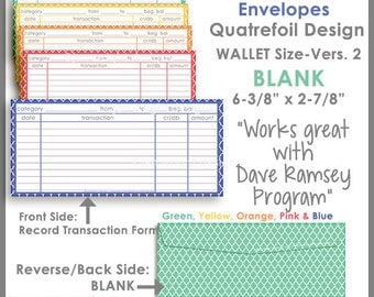 Wallet Size - Printable Cash Envelope Ver.2, Budgeting System, Money Budget Envelopes, Cash Organizer - Set of 5, Instant Download-PB1514