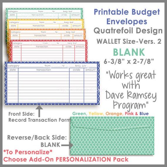wallet size printable cash envelope ver 2 budgeting system