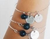 Custom Handstamped Freshwater Pearl Bangle Bracelet