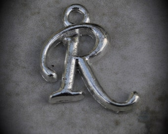 Letter R Silver Plated Charm