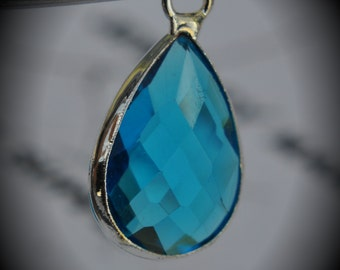 Silver Plated Bezel Brass Faceted Glass Tear Drop Pendant - Capri Blue