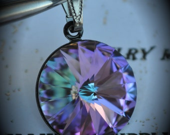 Gunmetal Genuine Swarovski Crystal 18mm Rivoli Pendant -  Vitrail Light