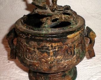 """Cast Iron Incense Burner Marked """"Japan"""""""