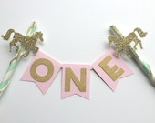 The Original Carousel Gold and Mint Cake Bunting Topper.  1st Birthday Cake.  Smash Cake.  Cake Decor.  Princess Party.  Cake Topper