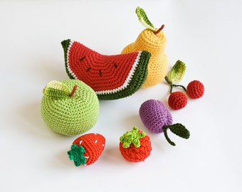 Сrochet Baby Rattles Fruit, Set of 7 - apple, pear, raspberry, srawberry, cherry, plum, watermelon - ecofriendly crochet toys