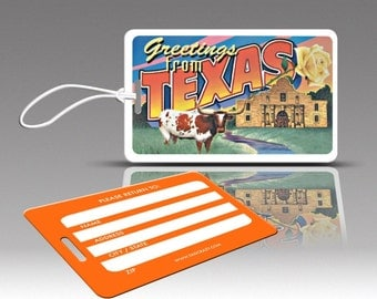 2 TEXAS Luggage Tags, Travel Luggage Tags, Travel Accessories, Suitcase Tags, Novelty Bag Tags, Plastic Luggage Tags, Cute Luggage Tags