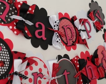 Happy Birthday Banner Black, Red, White polka dot Lady Bug