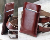 2 side mini clay brown leather iphone case with clip belt
