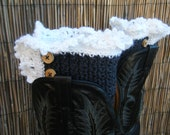 Crocheted Lacey Boot Cuffs With Wooden Buttons