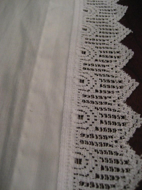 White Cotton Curtain Valance -Crochet Lace Trim- 2 Panels - Made in ...