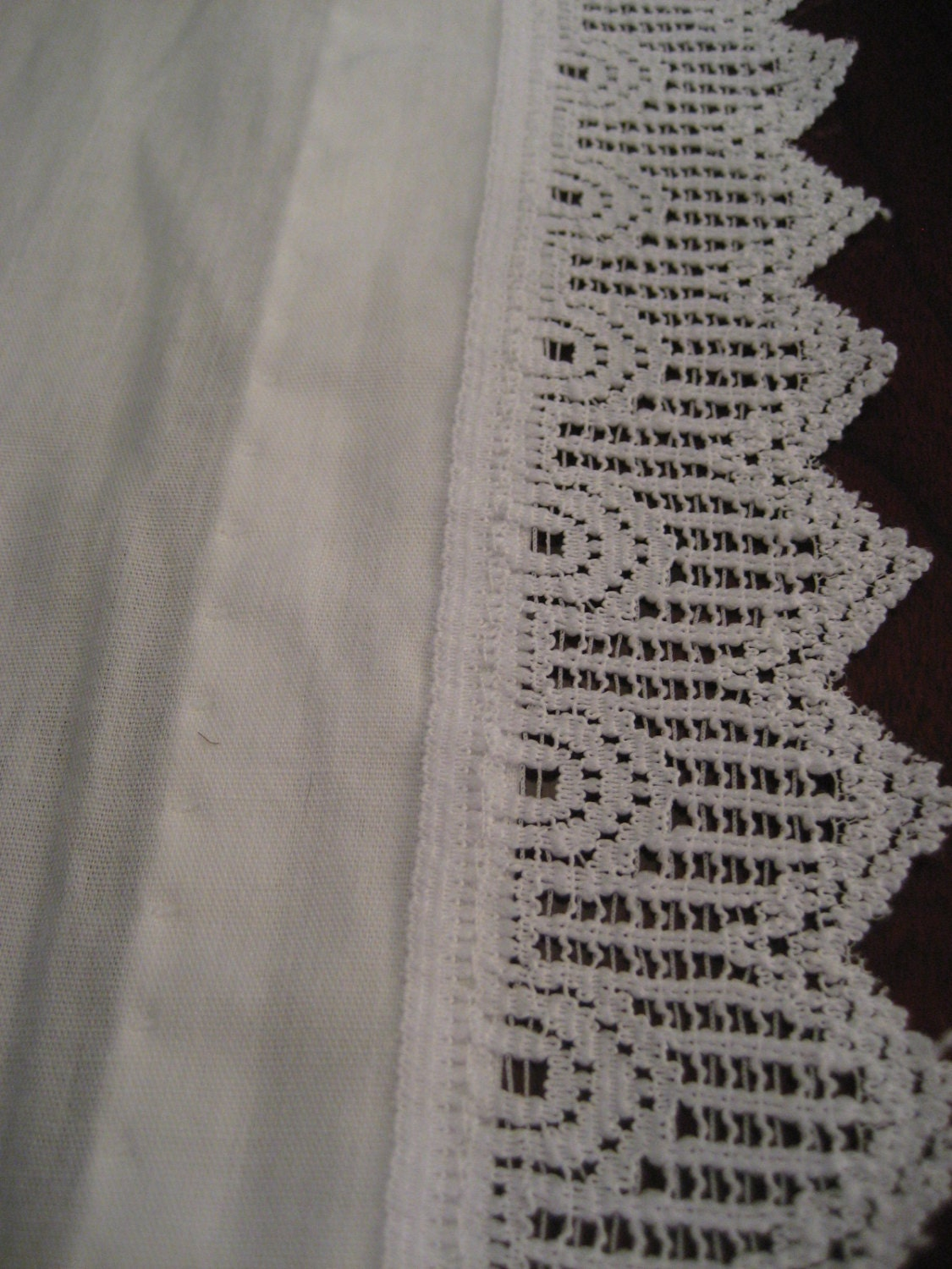white cotton curtain valance crochet lace trim by mercymaud