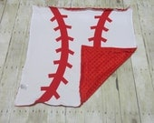 Minky and Coton Baby Blanket, Personalized baby blanket, Baseball blanket