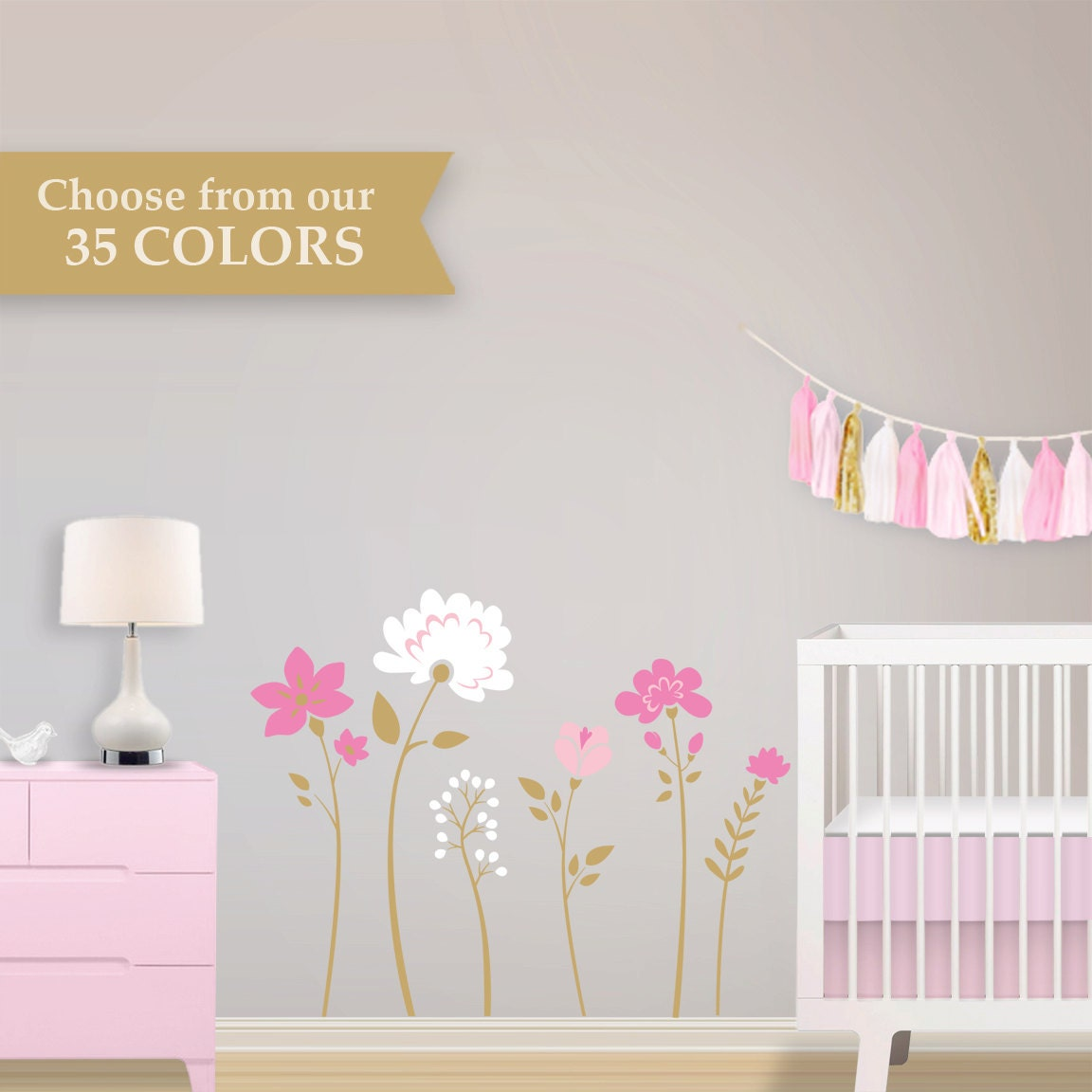 Children Wall Decal Flower Wall Decals Pink Gold by Lulukuku