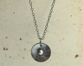 Hammered Silver Disc Necklace with Sterling Silver Chain, Sterling Silver Necklace, Hammered Silver Necklace