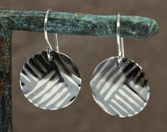 Medium Sterling Silver Disc Earrings with Embossed Lines, Dangle Earrings, Primitive Earrings, Embossed Earrings