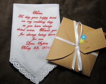 Mother of the Bride - Personalized Wedding Handkerchief With Free Gift Envelope - Shown with Red Writing