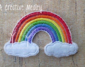 Jumbo Rainbow felt feltie Embroidery design - instant download