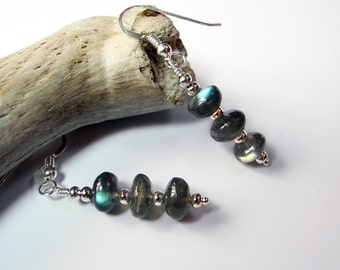 Labradorite Dangle Earrings, High Quality Labradorite Earrings, Labradorite Beads, Mystical Moon Designs