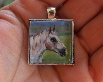 Miniature Painting Custom HORSE Portrait Pendant Necklaces-Dogs-Cats-Horses-Animals-Pet Memorial-Horse Jewelry