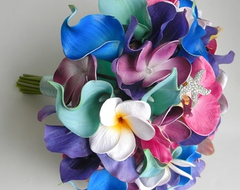 Caicos Beach Wedding Bouquet with Real Touch Plumerias, Orchids and Calla Lilies in Blue, Aqua, Fuchsia and Purple