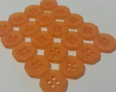 20 Swirled Orange Octagon Shirt Buttons, Frosted finish - size 13mm, 4 holes, great for baby showers, scrapbooks, cards