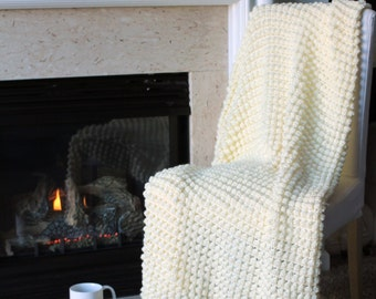 Bobble Afghan Throw Blanket Crochet - Solid Off White - Ready To Ship
