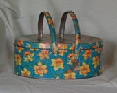 Vintage Tin Basket, Daffodil Litho w/ Lid & Handles, Cookie Tin from Dutch Maid, 1950s, Cookies, Sewing, Picnics, General Storage or Decor