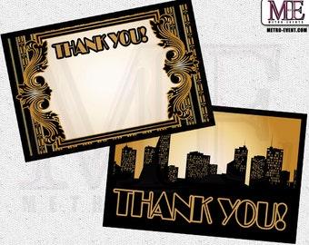 1920's Thank You card, Gatsby thank you card, Art Deco thank you card, Flapper card, 1920's thank you card, vintage thank you card