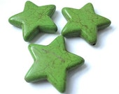 Large Star Beads, 30mm Bright Spruce Green Stone, Magnesite or Howlite Gemstones, Celestial Beads, Jewelry Making - Set of 3 big stars SP120