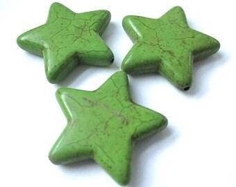 Set of 3 Stars, 30mm Bright Spring Green, Star Beads, Magnesite Howlite Gemstones