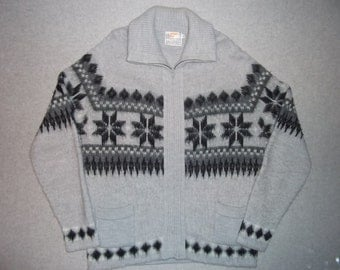 Vintage 80s 90s Hipster Nordic Snowflake Snow Grey Sweater Long Sleeve Tacky Gaudy Ugly Christmas Party X-Mas Made In USA XL Extra Large