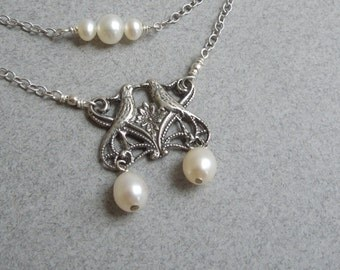 Bridal Necklace: Sterling  Silver Love Birds and Pearls