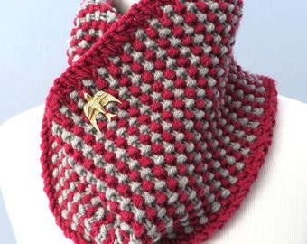 Hand knit infinity scarf / cowl in red gray