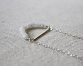 Moonstone Crescent Necklace, Gemstone Necklace, Sterling Silver Necklace, Stone Necklace