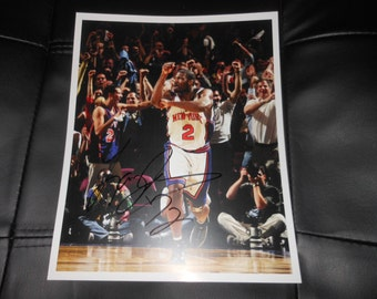 signed Larry Johnson 8x10 photo NY Knicks Charlotte Hornets NBA Basketball autograph